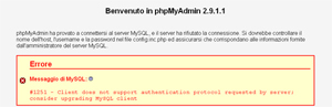 Errore phpMyAdmin